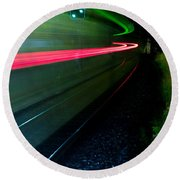 Train Pass By Round Beach Towel