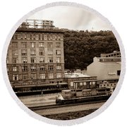 Train Passes Station Square Pittsburgh Antique Look Round Beach Towel