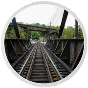 Train Pov Round Beach Towel