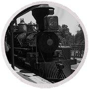 Train Ride Magic Kingdom Black And White Round Beach Towel