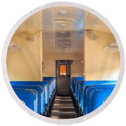Train Seats Round Beach Towel