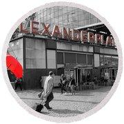 Train Station Alexanderplatz Round Beach Towel