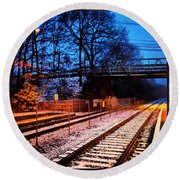 Train Station First Snow Round Beach Towel
