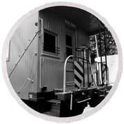 Train - The Caboose - Black And White Round Beach Towel