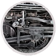 Train - The Wheels Are Turning  Round Beach Towel