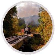 Train Through The Valley Round Beach Towel by Robert Frederick