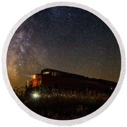 Train To The Cosmos Round Beach Towel