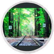 Train Tracks In Forest Round Beach Towel
