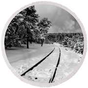 Train Tracks In The Snow Round Beach Towel