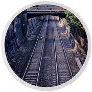 Train Tracks Into Town Round Beach Towel