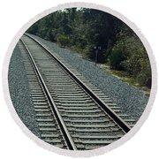 Train Tracks Round Beach Towel