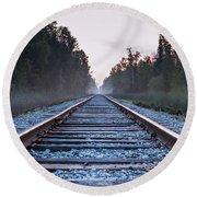 Train Tracks To Nowhere Round Beach Towel