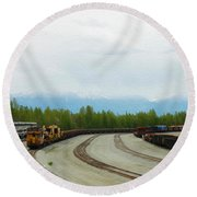 Train Tracks Round Beach Towel