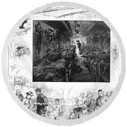 Train Travel, 1883 Round Beach Towel