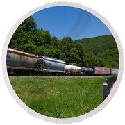 Train Watching At The Horseshoe Curve Altoona Pennsylvania Round Beach Towel