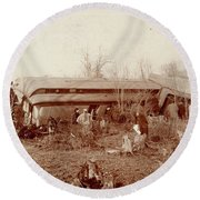 Train Wreck, 1890s Round Beach Towel