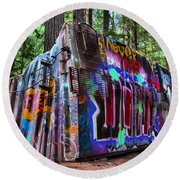 Train Wreck Art In The Forest Round Beach Towel