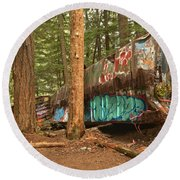 Train Wreck Canvas Among The Trees Round Beach Towel