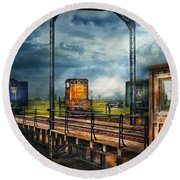Train - Yard - On The Turntable Round Beach Towel by Mike Savad