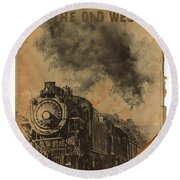 Trains Of The Old West Round Beach Towel