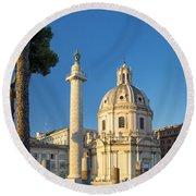 Trajans Column - Rome Round Beach Towel