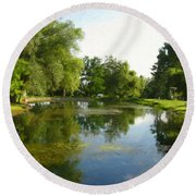 Tranquil - Digital Painting Effect Round Beach Towel