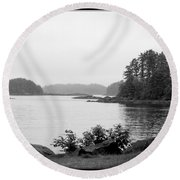 Tranquil Harbor Round Beach Towel