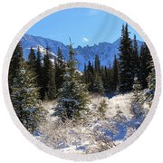Tranquil Mountain Scene Round Beach Towel