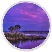 Tranquil Palms Round Beach Towel