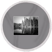 Tranquil Reflection In B And W Round Beach Towel