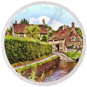 Tranquil Stream Lacock Round Beach Towel
