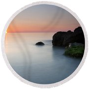Tranquil Sunset Round Beach Towel by Mike  Dawson