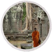 Tranquility In Angkor Wat Cambodia Round Beach Towel