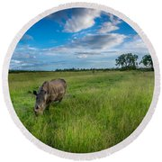 Tranquility On The Plains Round Beach Towel