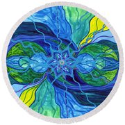 Tranquility Round Beach Towel by Teal Eye  Print Store