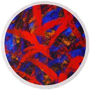 Transitions With Blue And Red  Round Beach Towel