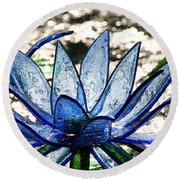 Translucent Blues Round Beach Towel