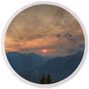Translucent Sunset In Widescape Round Beach Towel