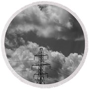 Transmission Tower In Storm Round Beach Towel