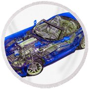 Transparent Car Concept Made In 3d Graphics 1 Round Beach Towel