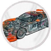 Transparent Car Concept Made In 3d Graphics 10  Round Beach Towel
