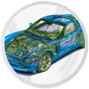 Transparent Car Concept Made In 3d Graphics 11 Round Beach Towel