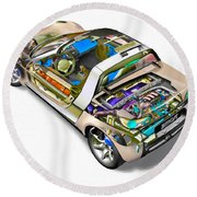 Transparent Car Concept Made In 3d Graphics 2 Round Beach Towel