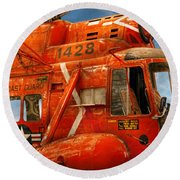 Transportation - Helicopter - Coast Guard Helicopter Round Beach Towel by Mike Savad