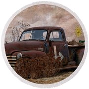 Transportation - Rusted Chevrolet 3100 Pickup Round Beach Towel
