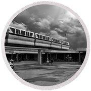Transportation Station In Black And White Walt Disney World Round Beach Towel