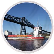 Transporter Bridge Over Canal Rendsburg Round Beach Towel