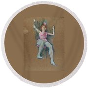 Trapeze Artist At The Medrano Circus Round Beach Towel