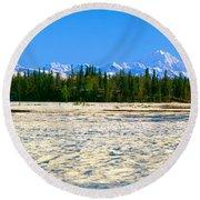 Trapper Creek And Mount Mckinley, Alaska Round Beach Towel