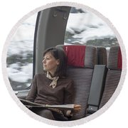 Travel In Train Round Beach Towel